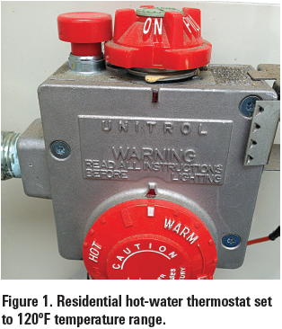 Fig. 1: Residential hot-water thermostat set to 120 degree F temp. range.