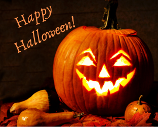 Happy Halloween sign with carved jack-o-lantern